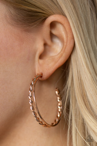 Retro Twist Paparazzi Earrings-Rose Gold