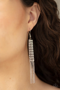 Rhinestone Romance Paparazzi Earrings-White