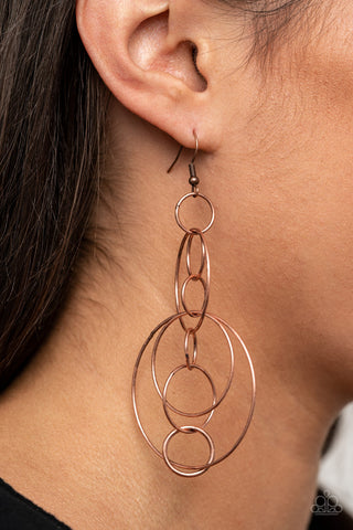 Running Circles Around You Paparazzi Earrings-Copper