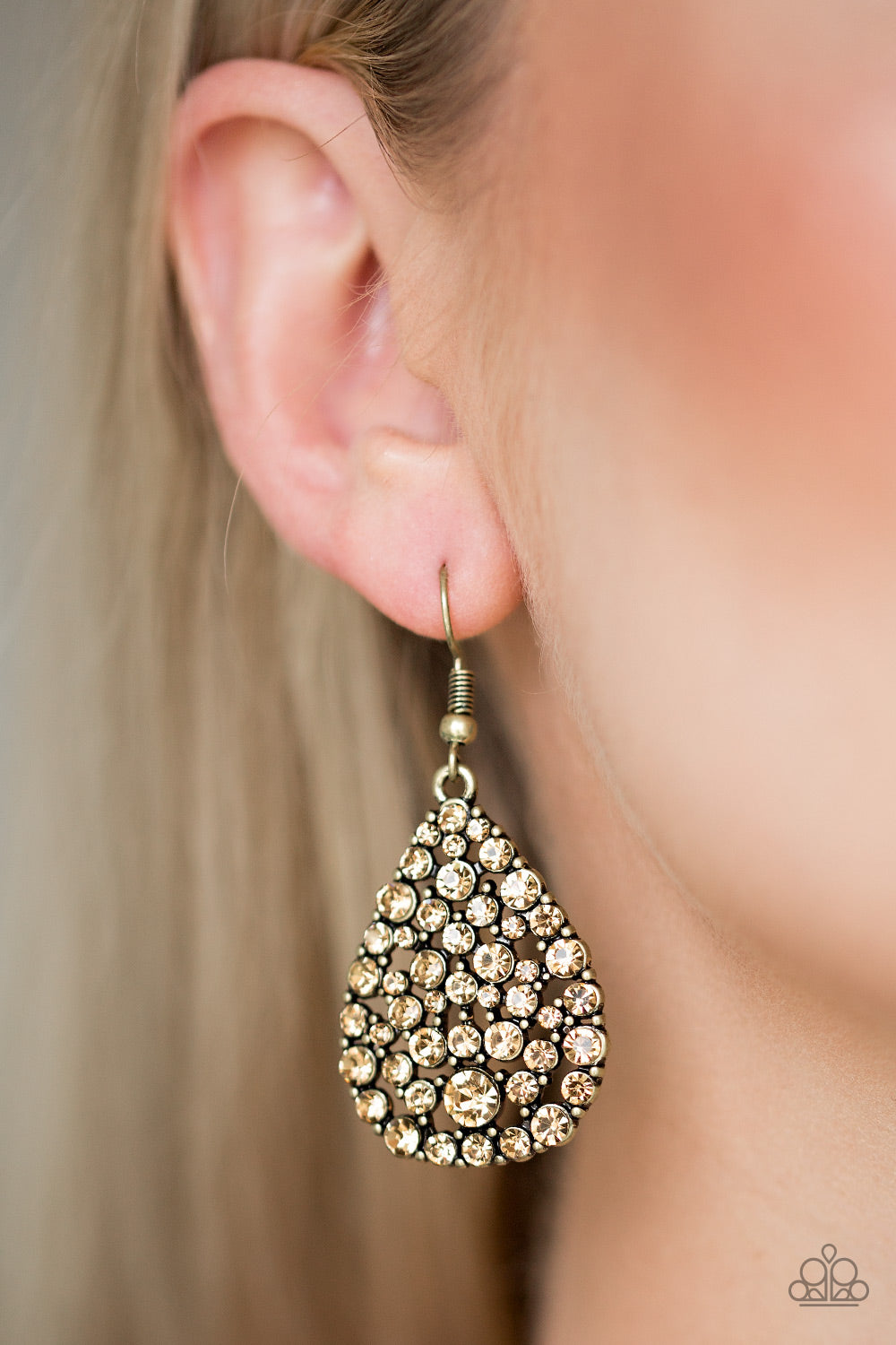 Sparkle Brighter Paparazzi Earrings-Brass