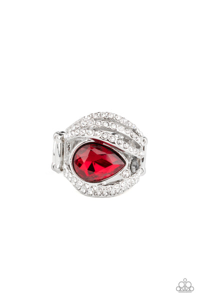 Stepping Up The Glam Paparazzi Ring-Red