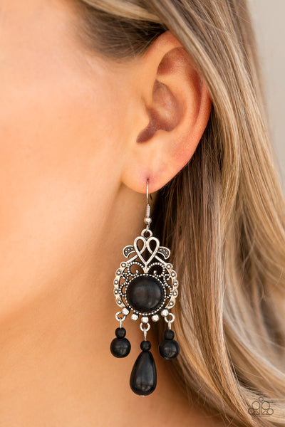 Stone Bliss Paparazzi Earrings-Black