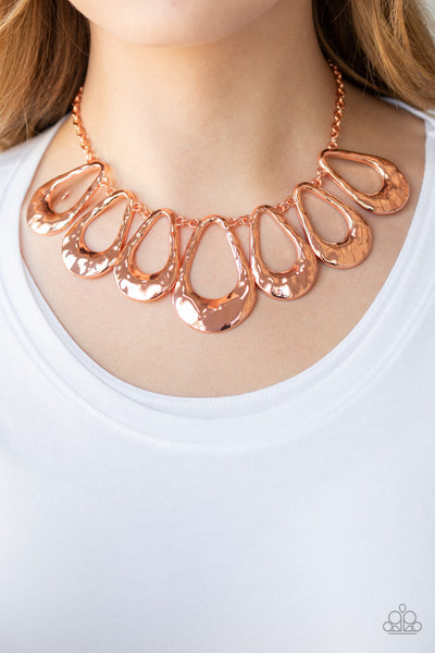 Teardrop Envy Paparazzi Necklace-Copper