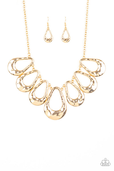 Teardrop Envy Paparazzi Necklace-Gold