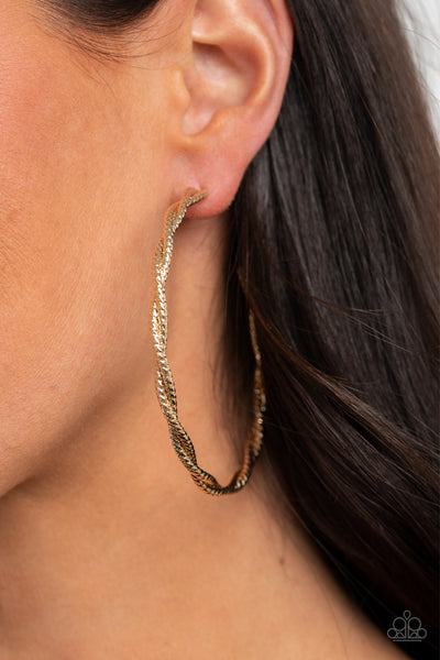 Totally Throttled Paparazzi Earrings-Gold