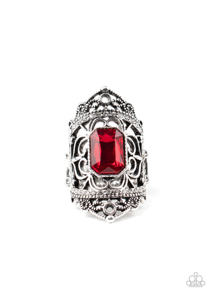Undefinable Dazzle Paparazzi Ring-Red