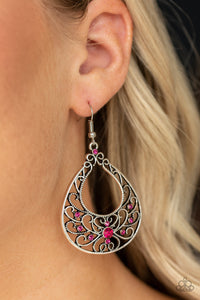 Vine Shine Paparazzi Earrings-Pink