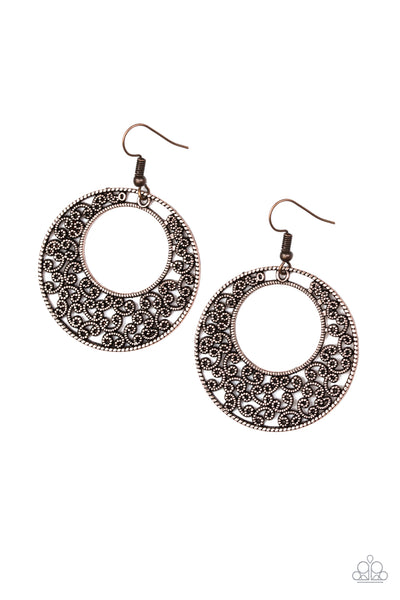 Wistfully Winchester Paparazzi Earrings-Copper