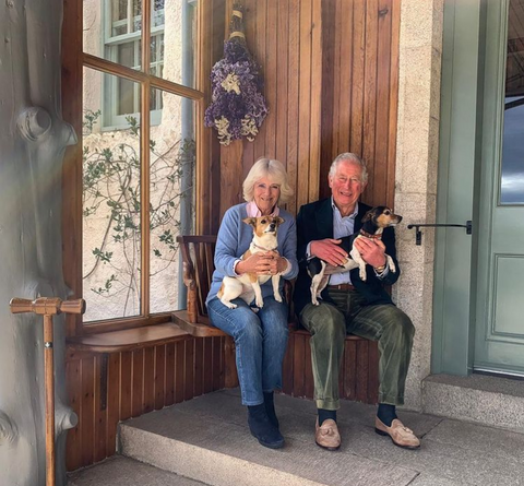 Prince of Wales, Duchess of Cornwall with dogs