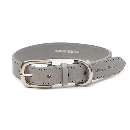 Grey Leather Dog Collar - Mutts & Hounds