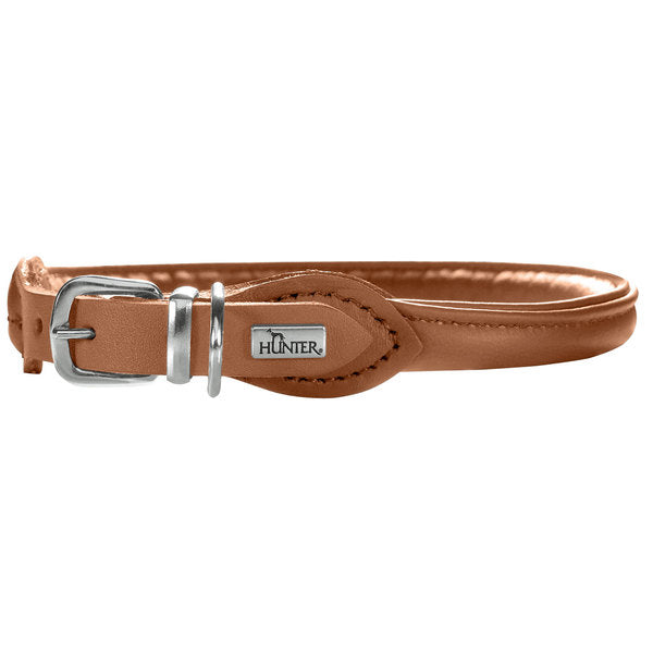 Round and Soft Elk Leather Dog Collar - Hunter