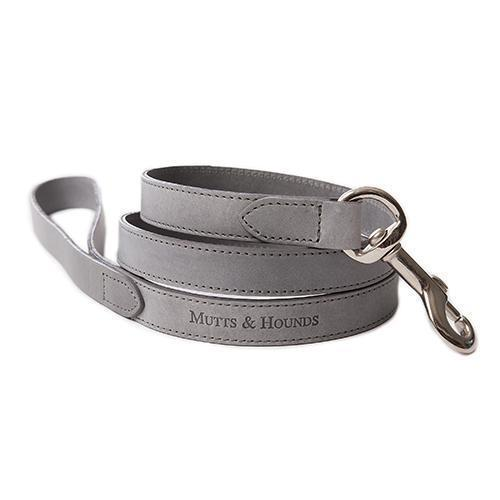 Grey Leather Dog Lead - Mutts & Hounds