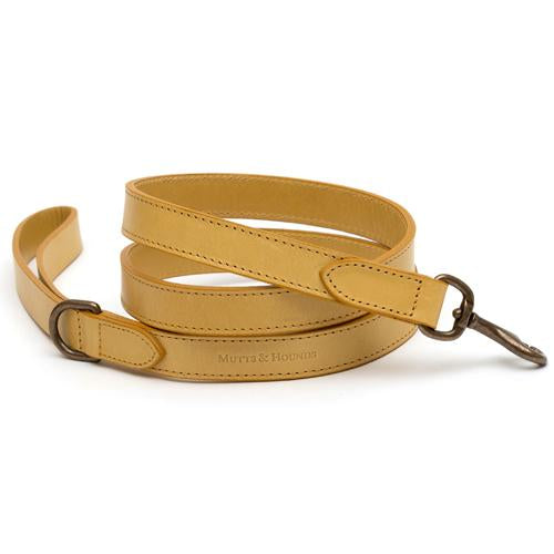 Mustard Leather Dog Lead - Mutts & Hounds
