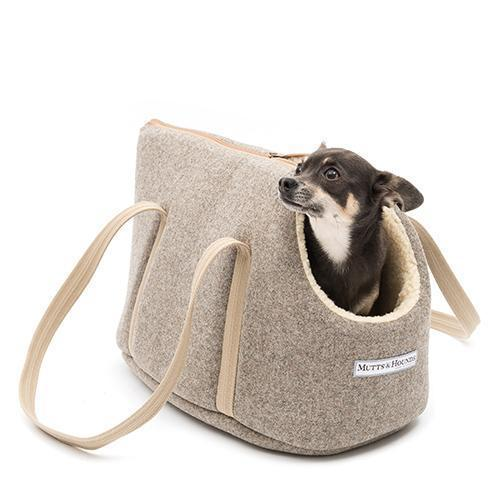 Grey Tweed Dog Carrier - Mutts & Hounds
