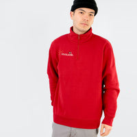 Men Red Quarter Zipper Embroidered Fleece Sweatshirt (LE-10446)