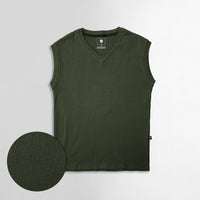 Men Sleeveless Basic Slim Fit V Neck Sweater (IS-11099)