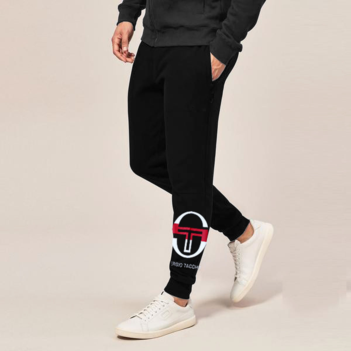 MEN  SOLID BLACK SLIM FIT PRINTED JOGGER TROUSER (ST-10631)