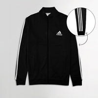 Men Tri Striped Fleece Zipper Jacket With Iconic Logo Print (AD-11139)