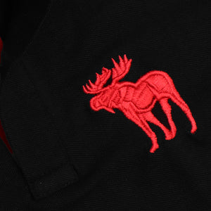 Black Durable Applique Embroidery Pique Polo Shirt (AF-825)
