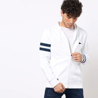 Men Signature Stripe Print & Left Chest Embroidery Zipper Hoodie (BK-11059)