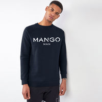 Men DK Navy Signature Graphic Fleece Sweatshirt (MA-10456)