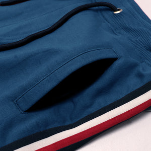 MEN BLUE SIGNATURE TAPE & LOGO EMBROIDERED JOGGERS (TM-10343)