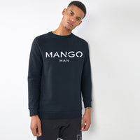 Men Navy Signature Graphic Fleece Sweatshirt (MA-10432)