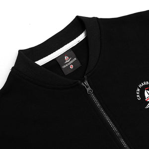 Crew Harbor Black Bomber Jacket With Left Chest Embroidery (CR-2024)