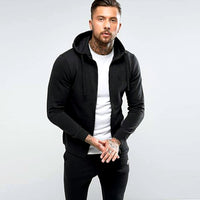 Jet Black Zipper hoodie with left Chest Embroidery (XT-1125)