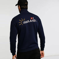 Men Navy Quarter Zipper Embroidered Fleece Sweatshirt (LE-10445)