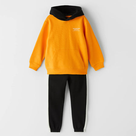 Kids Yellow / Black Graphic hoodie Suite (MA-10572)