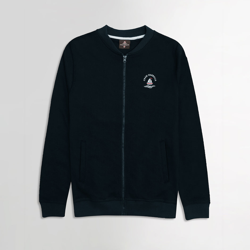 Crew Harbor Dark Navy Bomber Jacket With Left Chest Embroidery (CR-2058)