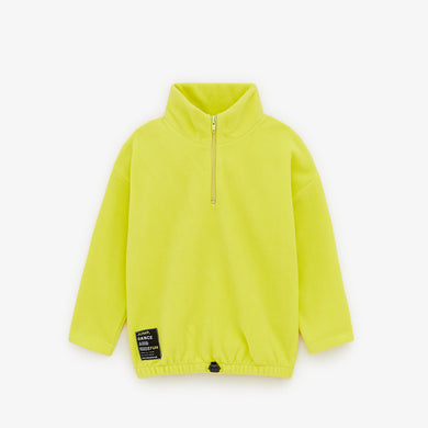 Zr girls lime half zip fleece sweatshirt (ZA-1656)