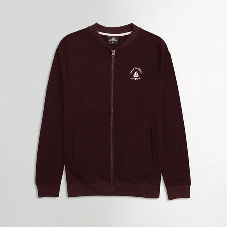 Crew Harbor Burgundy Bomber Jacket With Left Chest Embroidery (CR-2057)
