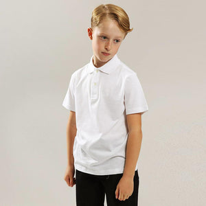 Boys white short sleeve polo (GA-732)