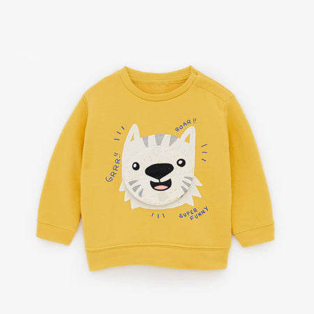 kids tiger print &  applique sweatshirt  (ZA-10065)
