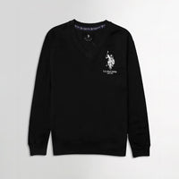 Men Black Signature Print Fleece Sweatshirt  (US-11070)