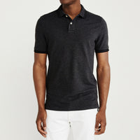 Charcoal Pure Cotton Tipped Collar Regular Fit Polo Shirt (LO-771)