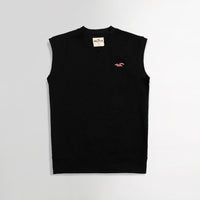 Hlster Black  Men Sleeveless V Neck Rib Sweater  (HO-1558)