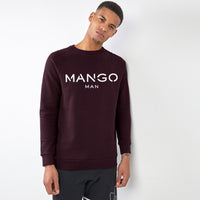 Men Burgundy Signature Graphic Fleece Sweatshirt (MA-10431)