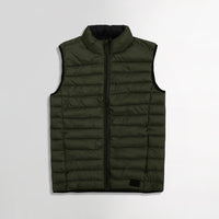 BLND LIGHT WEIGHT OLIVE PUFFER GILET(BL-2113)