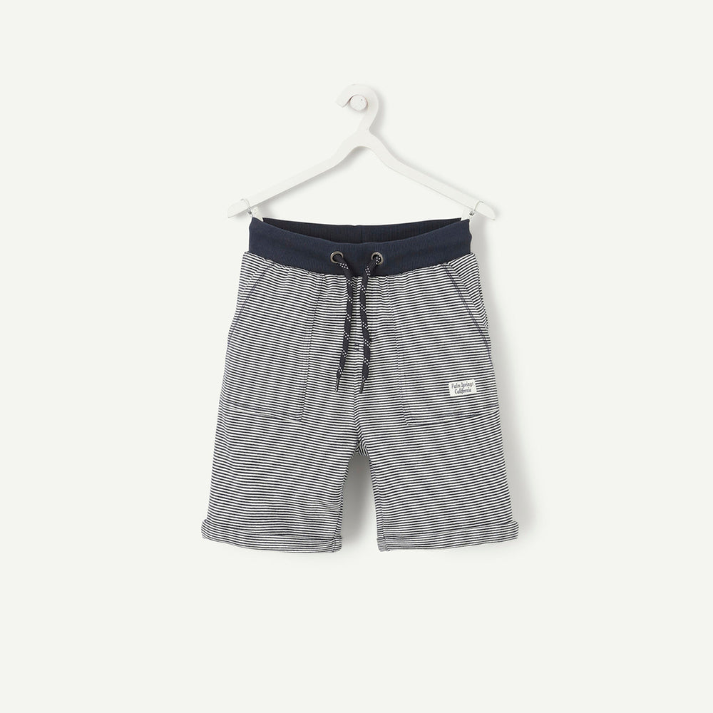 Kids T.A.L Navy Eng Striped Terry Shorts (TP-4736)