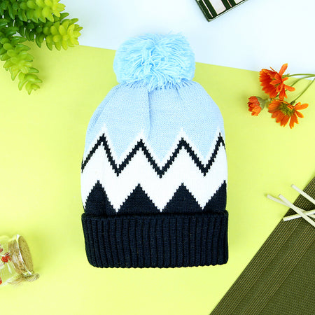 kids zigzag Jacquard Weave Pom Pom Woolen Bienne Caps For 1 to 10 Years
