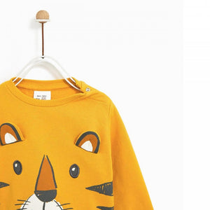 ZR kids tiger print & pompom applique sweatshirt ( (ZA-1241)