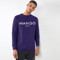 Men Violet Signature Graphic Fleece Sweatshirt (MA-10434)