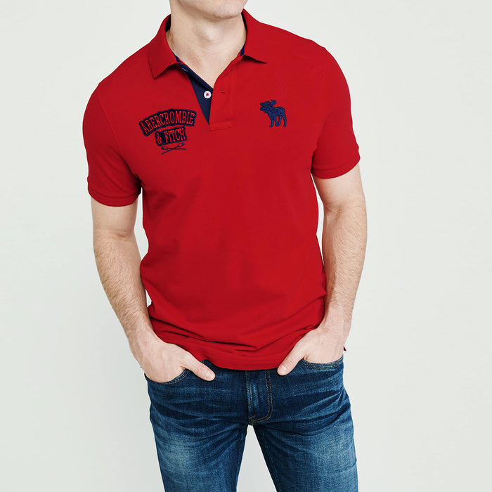 Red Durable Applique Embroidery Pique Polo Shirt  (AF-820)