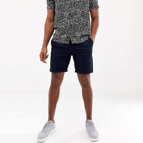 SMG Men Stretch Belt looped Navy Chino Shorts (SM-5155)