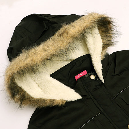 FRY  Cotton padded parka Zipper Jacket With Fur lined hood  (FR-2116)