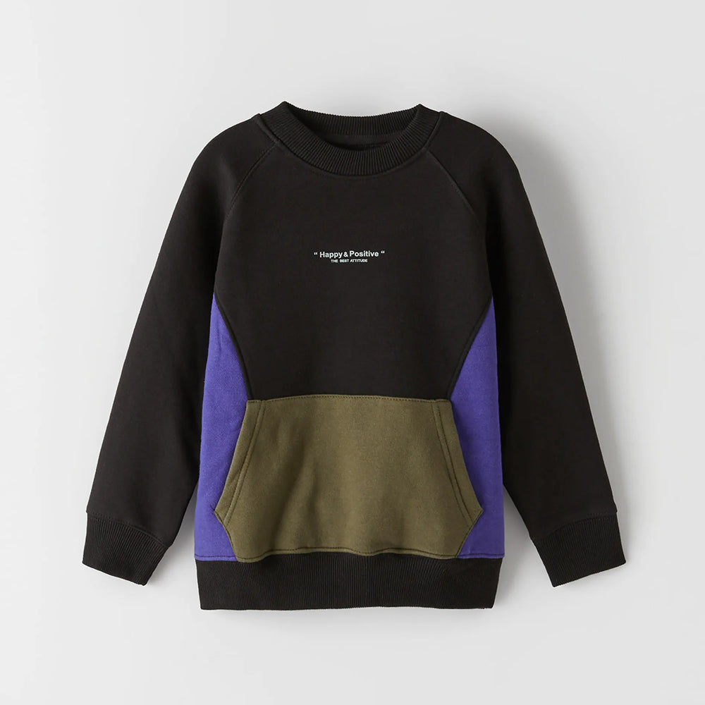 Kids Paneled Kangaroo Pocket Fleece Sweatshirt (ZA-11001)