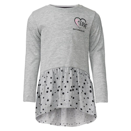 Girls Grey Marl fashion print frock (LU-1341)